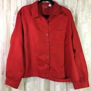 Chico's Red Long Sleeve Button Down Blouse